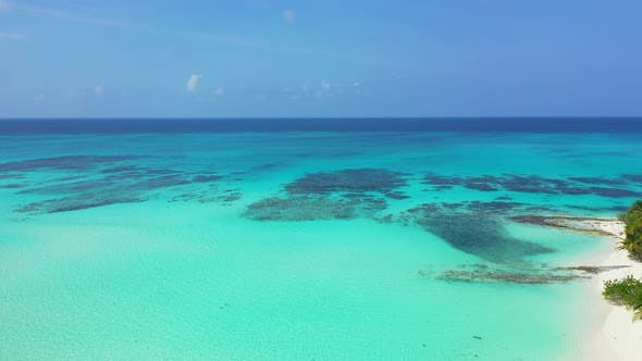 Thumbnail for Luxury aerial clean view of a white sandy paradise beach and blue water background