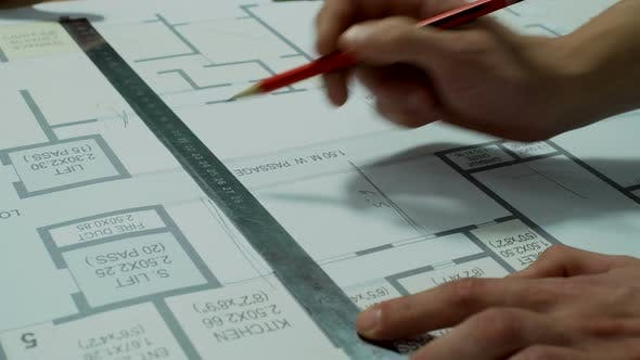 Thumbnail for Engineers Planning the Building Construction – Architectural Drawing (Speed Video)