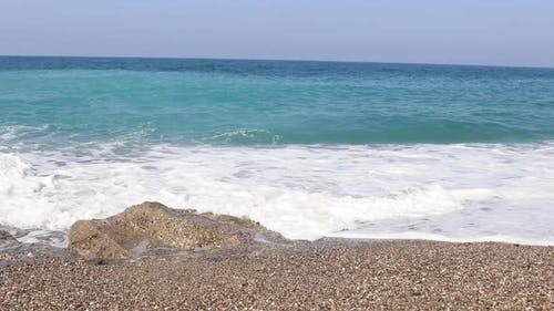 Sea Waves in Mediterranean Beach