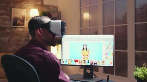 Freelancer Photographer Using Virtual Reality Headset