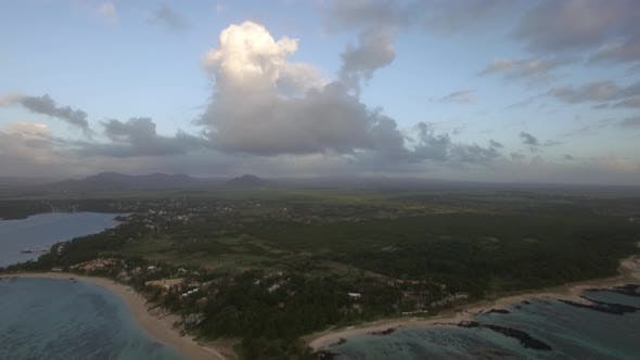 Thumbnail for Aerial View of Mauritius with Its Coastal Line