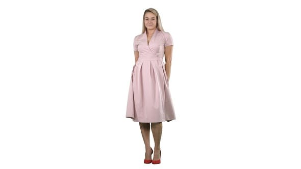 Thumbnail for Beautiful Lady in Pink Dress Preen on White Background
