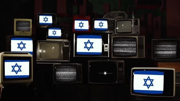 Thumbnail for Flag of Israel on Retro TV Screens.