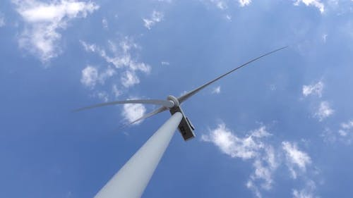 Wind Turbine Blades Revitalizing Power of the Wind View From Below, Close Up