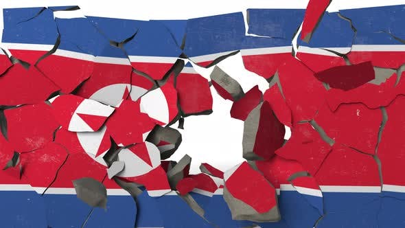 Thumbnail for Breaking Wall with Painted Flag of North Korea