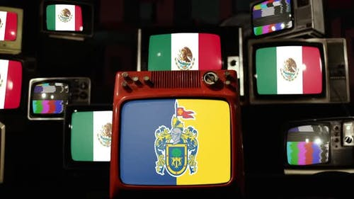 Flag of Jalisco and Flags of Mexico on Retro TVs.