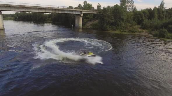 Girl on the Jet Ski in the River