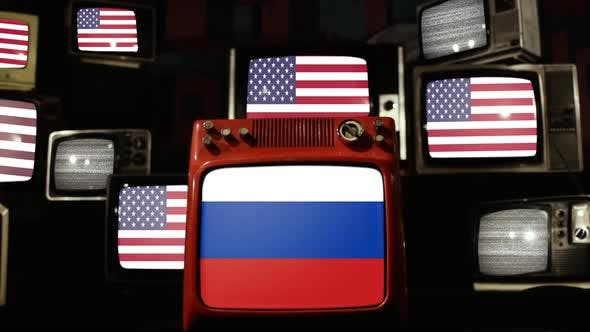 Thumbnail for Flag of Russia and US Flags on Retro TVs.