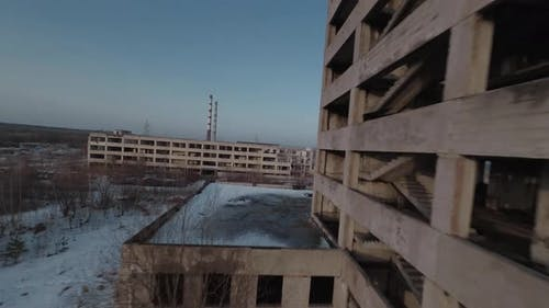 FPV Drone Flies Along an Abandoned Building