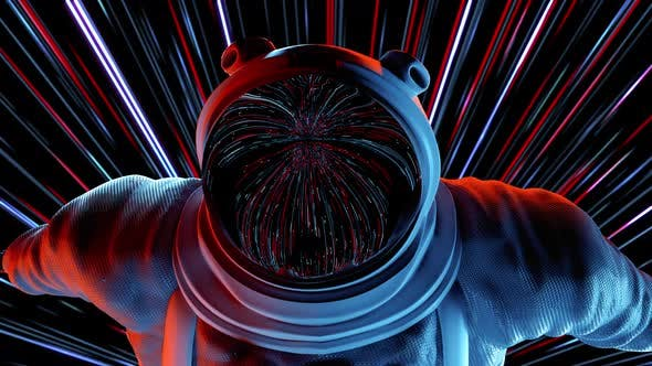 Thumbnail for Epic Portrait of Hero Men Spaceman Wearing Helm in Space