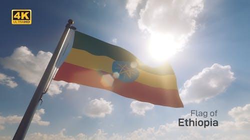 Ethiopia Flag on a Flagpole V2 - 4K