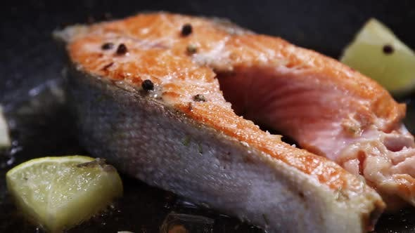 Grilled Rainbow Trout or Salmon Steak with Spices, Garlic