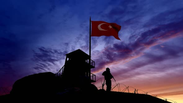 Turkish Soldier On The Border, Watching The Border At Evening Time