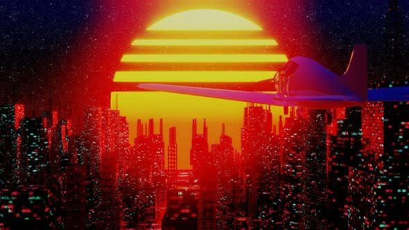 Thumbnail for Airplane Flying Over Retro Futuristic City in Space