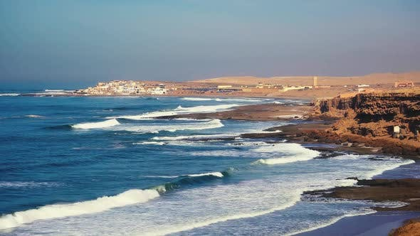 Thumbnail for Waves of Blue Ocean in Morocco Coast Beach