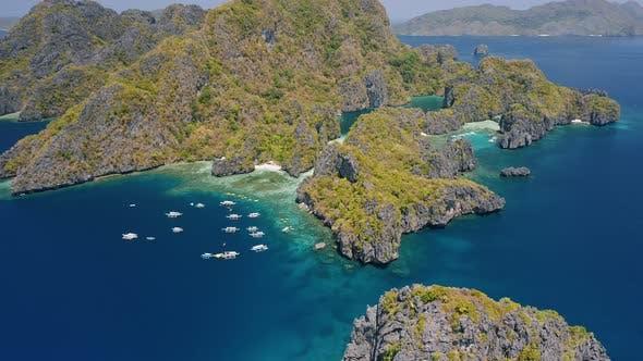 Thumbnail for Aerial View of Miniloc Island. El-Nido, Palawan. Philippines. Limestone Karst Rock Ridge Formation