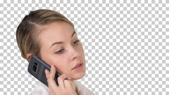 Woman with blonde hair talking on cellphone, Alpha Channel