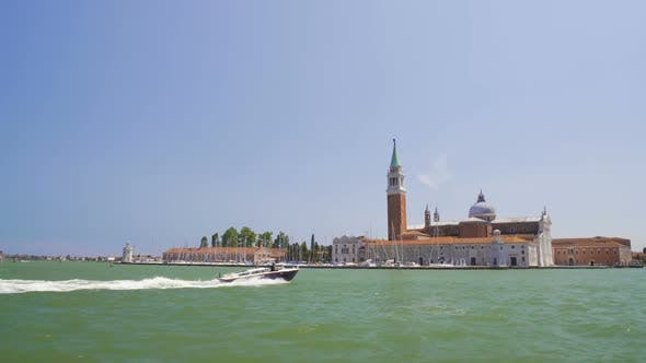 Thumbnail for Motorboat Sailing Near Beautiful San Giorgio Maggiore Island in Venice, Tourism