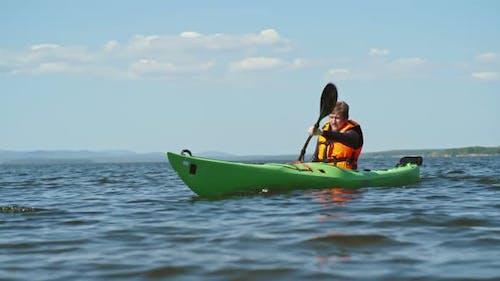 Man on Kayak Trip