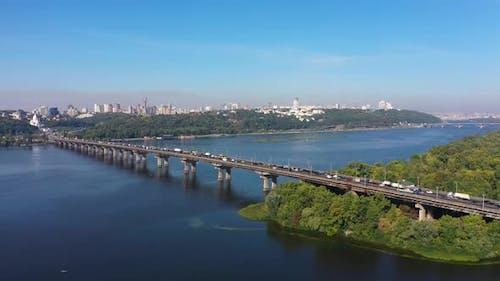 Paton Bridge in Kiev Over the Dnieper River