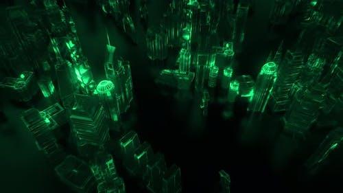 Matrix's Style Glowing Futuristic City Background