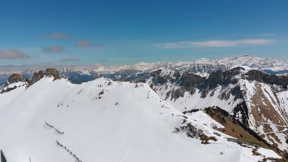 Panoramic View From the High Mountain To Snowy Peaks in Switzerland Alps. Rochers-de-Naye