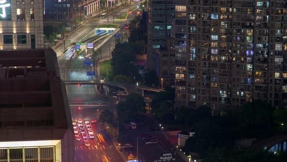 Shanghai Heavy Street Traffic Pan Up