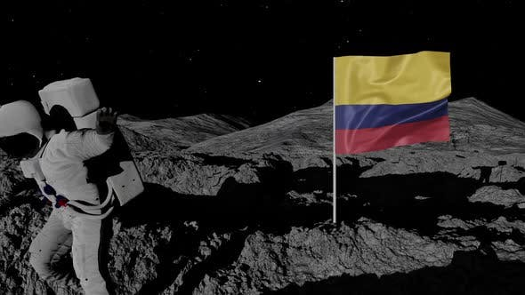 Thumbnail for Astronaut Planting Colombia Flag on the Moon