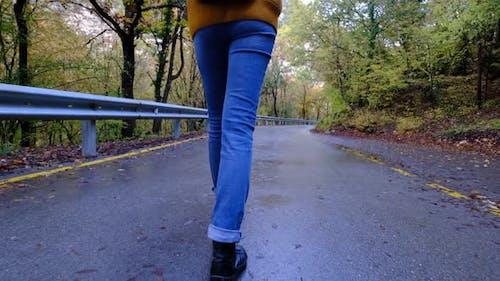 Close Up of Women Legs Hiking Steep Terrain in Slow Motion