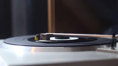 Musical Vinyl Record On An Old Record Player