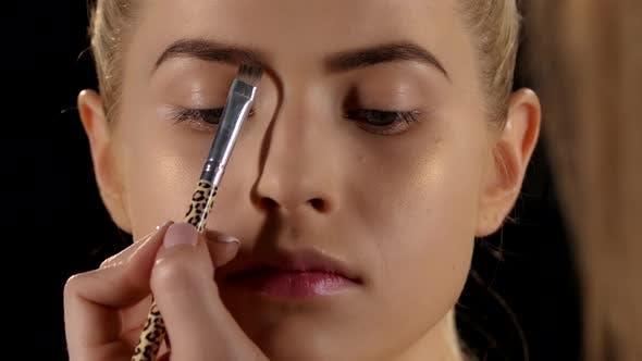 Thumbnail for Beautiful Girl Getting Professional Makeup. Black. Closeup