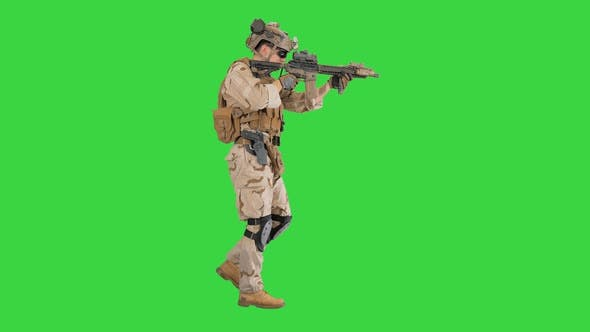 Thumbnail for Soldier Walking and Aims Through the Assault Rifle on a Green Screen, Chroma Key.