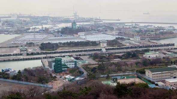 Thumbnail for Timelapse Ship Sails Along Incheon Shipping Lock