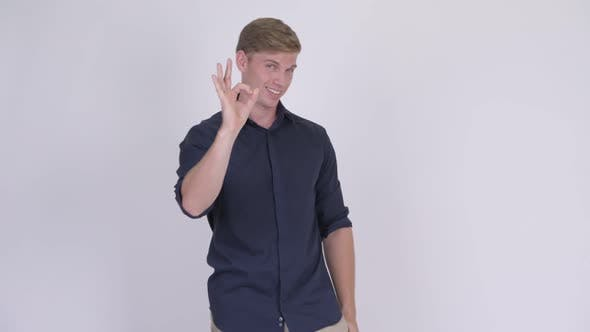 Thumbnail for Young Handsome Blonde Businessman with Ok Sign
