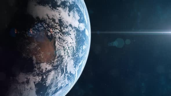 Zooming in to a Realistic Plant Earth Through the Clouds From Orbit