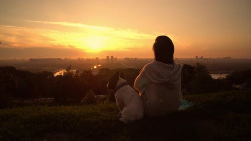 Women with French Bulldog at Sunset