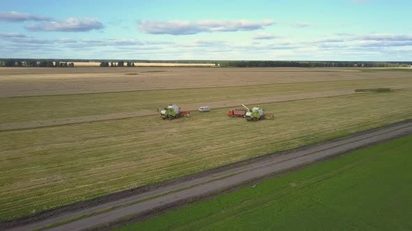Thumbnail for Bird Eye Flight Green White Combines Stand By Car Truck