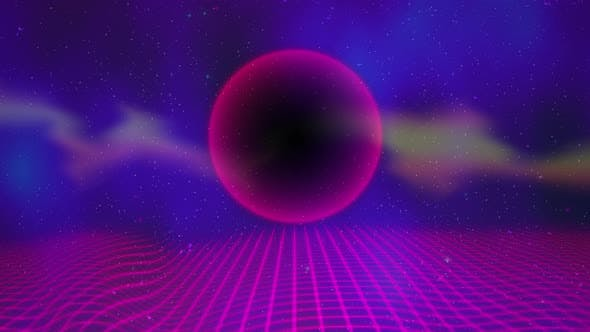 Thumbnail for Motion retro purple sphere and grid, abstract background with noise and distortion