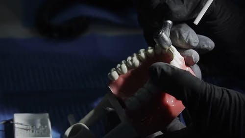 Dentist in Black Gloves Close-up of on a Mock-up of a Skeleton of Teeth Using a Drill Machine. the