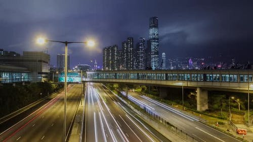 Time Lapse of cars on a busy street in Hong Kong