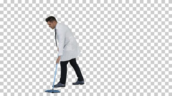 Thumbnail for Man in white robe sweeping the floor and talking, Alpha Channel
