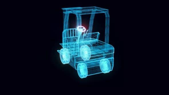 Forklift Hologram Rotating 4k