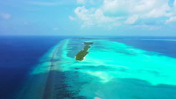 Thumbnail for Luxury drone copy space shot of a white sand paradise beach and aqua blue ocean background
