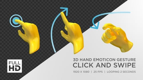 3D Hand Emoticon Gesture Click And Swipe