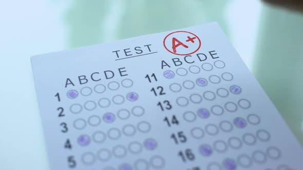 Cover Image for A Plus Grade on Test Paper, Academic Assessment Result, Successful Entry Exams