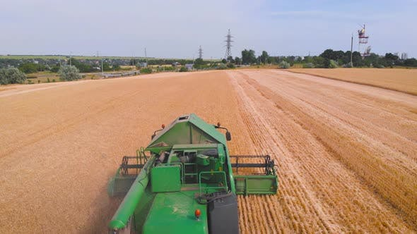 Thumbnail for Impressive Flight Over a Working Combine Harvesting Tons of Ripe Barley