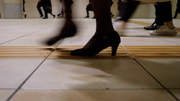 Thumbnail for Low Angle Japanese Commuters Walking