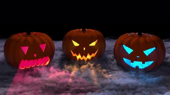 Scary Pumpkins With Smoke