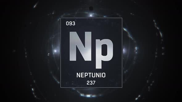 Thumbnail for Neptunium as Element 93 of the Periodic Table on Silver Background in Spanish Language