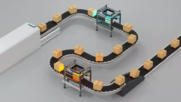 Thumbnail for Loop transmitting of packaging box on the conveyor belt